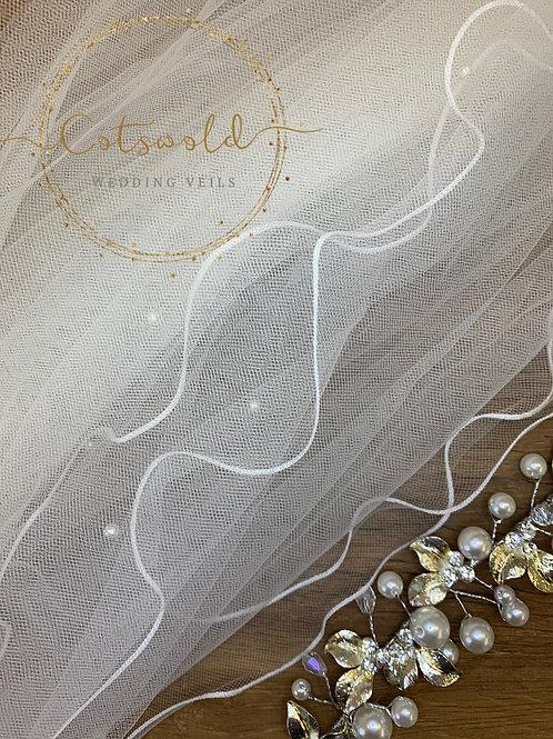 "28"" Pencil Edge - 2 Layered Tulle Pearl Wedding Veil"