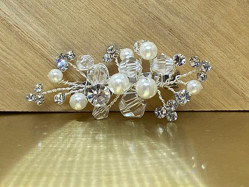 Beautiful Crystal & Pearl Train Pin, Wedding Dress Train Pin, Floral, Pearl Dres