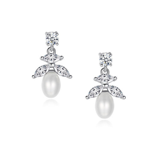Pretty Petite Pearl Earrings, Available in Silver, Bridal Accessories, Bridal Je