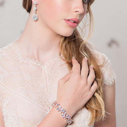 Crystal Extravagance Bracelet, Silver or Rose Gold, Bridal Accessories, Wedding
