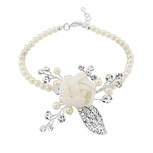 Clara Flower Pearl Bracelet, Available in Silver, Bridal Accessories, Wedding Je