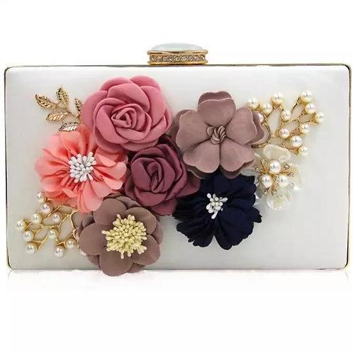 Beautiful Vintage Floral 3D Embellished Clutch Bag