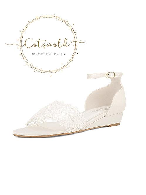 Beautiful Bridal Sandals, Ivory Satin & Lace Brides Wedge Shoes