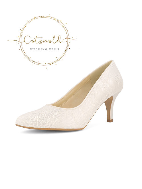 *SALE* Beautiful Bridal Shoes, Classic Ivory Lace Court Shoes, Mid Heel