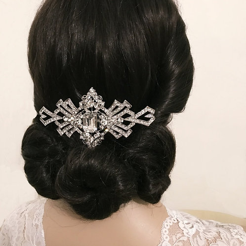 Large Gatsby Sparkle Crystal Hair Comb, Silver, Bridal Accessories, Bridal Hair,