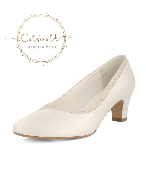 Classic Bridal Shoes, Classic Ivory Satin Court Shoes, Mid Heel with Glitter Tri