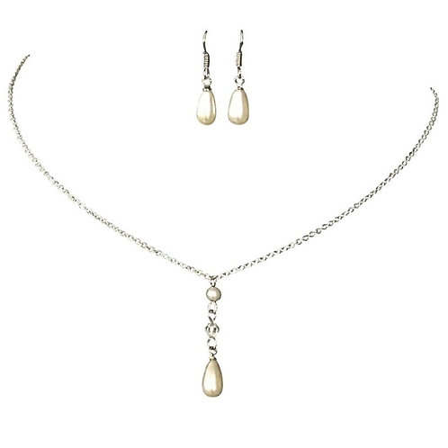 Simply Chic Pearl Drop Necklace Set, Pearl Necklace & Earrings, Silver, Bridal A
