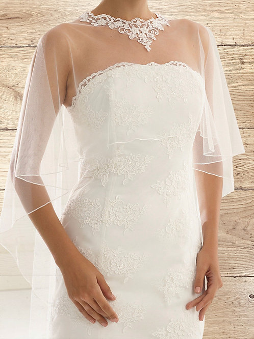 Beautiful Lace & Tulle Cape, Poncho - Ivory Lace