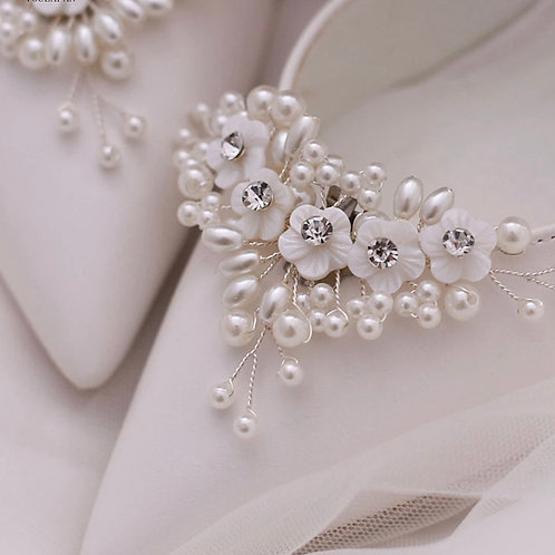 Beautiful Petite Flower Bridal Shoe Clips, Shoe Brooches, Shoe Buckles, Crystal
