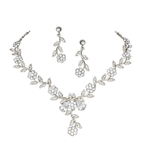 Crystal Vine Necklace & Earrings, Available in Silver or Gold, Bridal Accessorie