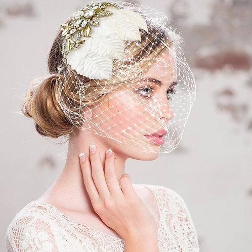 Regal Luxe Birdcage Veil, Ivory Antique Gold Birdcage Veil, Crystal Embellished