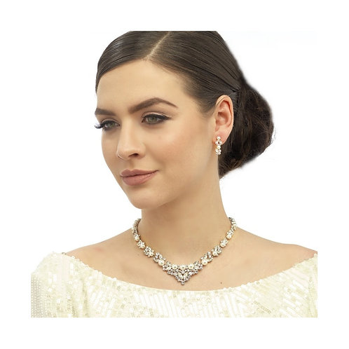 Chic Pearl Necklace Set, Pearl Necklace & Earrings, Available in Silver, Bridal