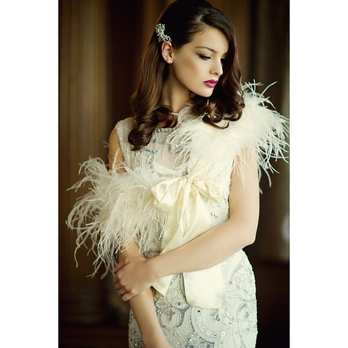 Ivory Ostrich Feather Stole - Beautiful High Quality Luxury Shrug, Wrap