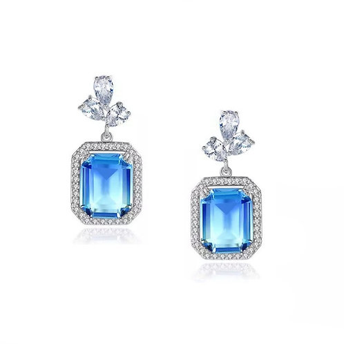 Sparkle Gem Earrings, Available in Silver & Blue, Bridal Accessories, Bridal Jew