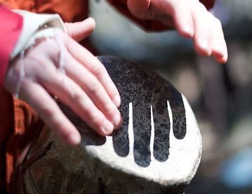 Drumming at ReTribe ceremonies