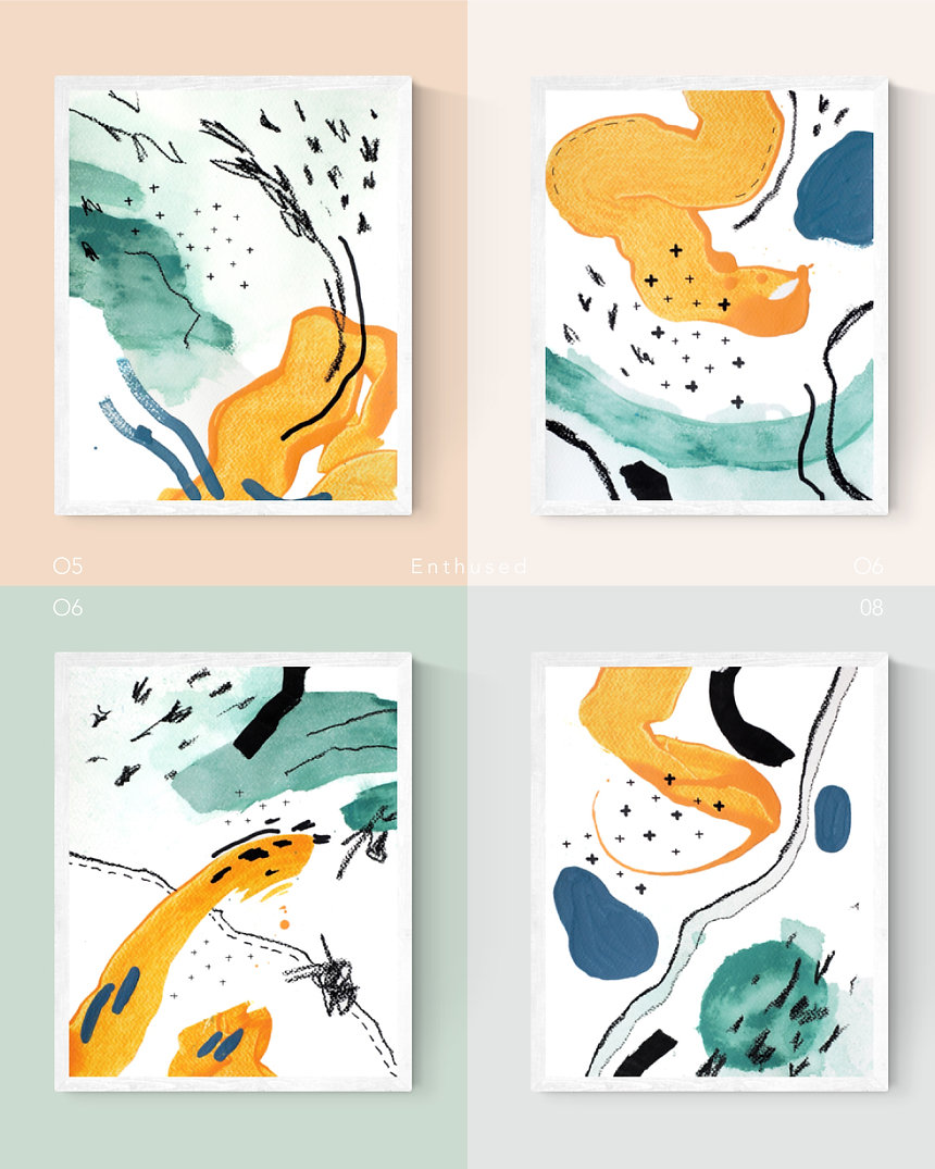Enthused. Abstract Painting Art Print For Home Spaces   September Khu