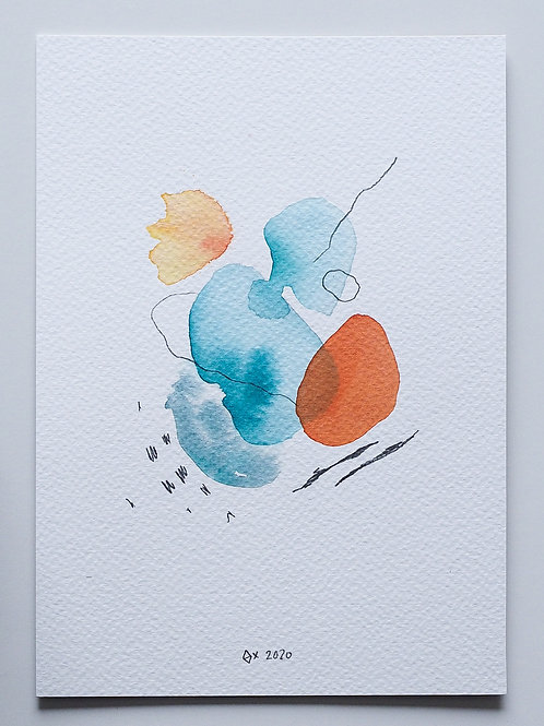 """Abstract Watercolour 007 (5.8""""x 8.3"""")"""