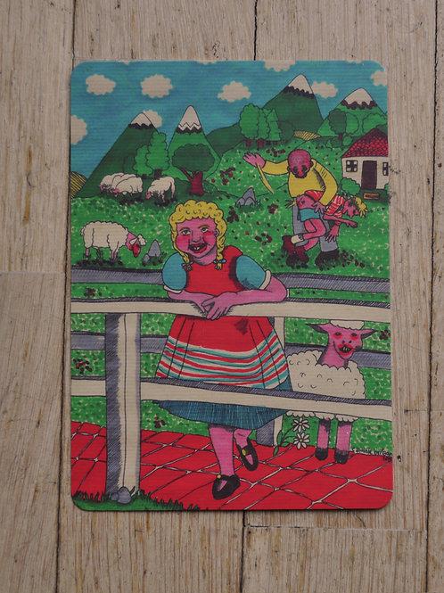 """Carte postale """"fessée champêtre"""""""