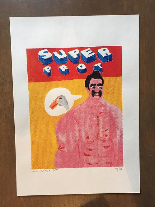 """Affiche Sérigraphie """"Super Prot"""""""