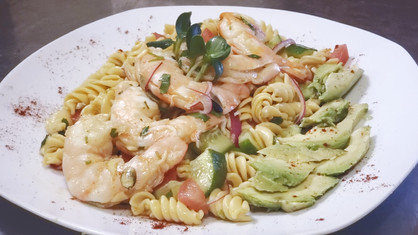 Chimichurri Shrimp & Avocado Pasta Salad