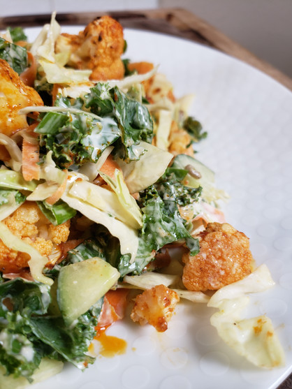 Buffalo Cauliflower Chopped Salad with RANCH!