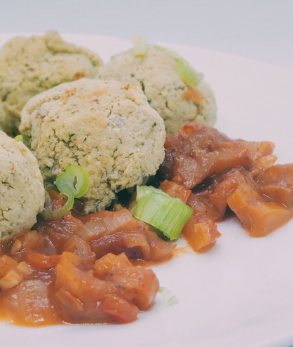 Plant-Based Bean Balls with Warm Pepper Relish!