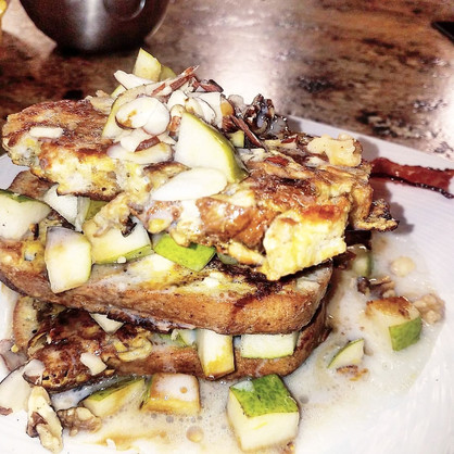 Pear-Ginger GF Protein French Toast with Coconut Cream. Cause Coconut Cream Is Everything.