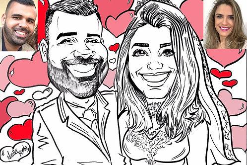 Caricatura animada de casal preto e branco
