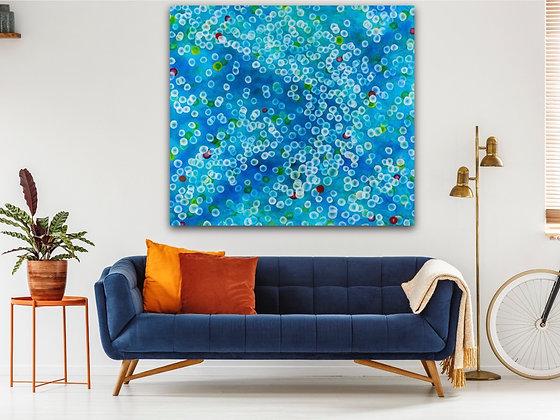 Aqueous Drift XV, Huge original painting 168 x 153cm, blue teal aqua
