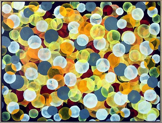 Aqua Vitae - Joyful Chardonnay,  Large Abstract Painting framed