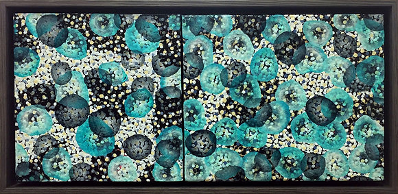 Molecular Mayhem III & IV - Original Paintings Framed
