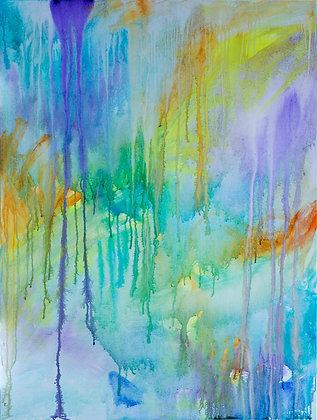 Vitae Field Melt I - large paint pour artwork