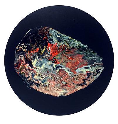 Biomorphic Hopeful Blob I – Original Painting on Round Canvas