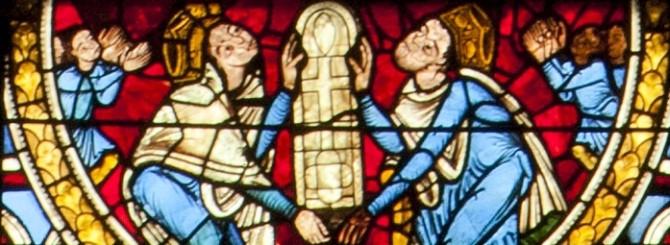 Aliénor d'Aquitaine, vitrail de la crucifixion, Poitiers cathédrale Saint-Pierre