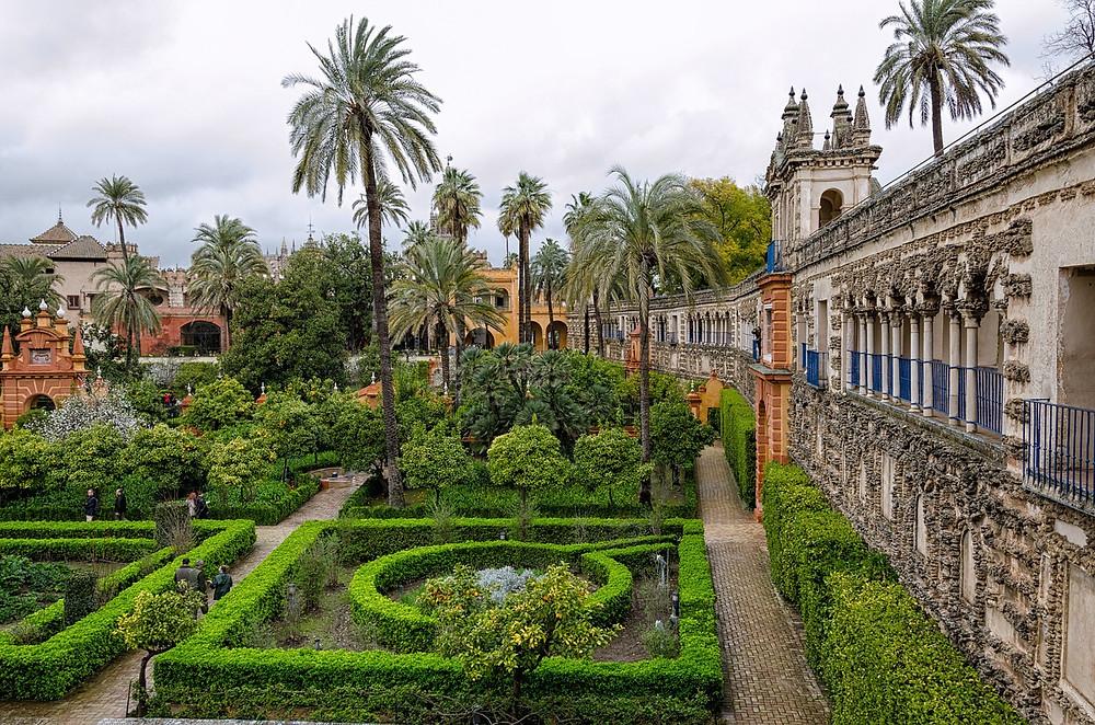 Alcazar, jardins, palais, grotesque, Andalousie, Séville