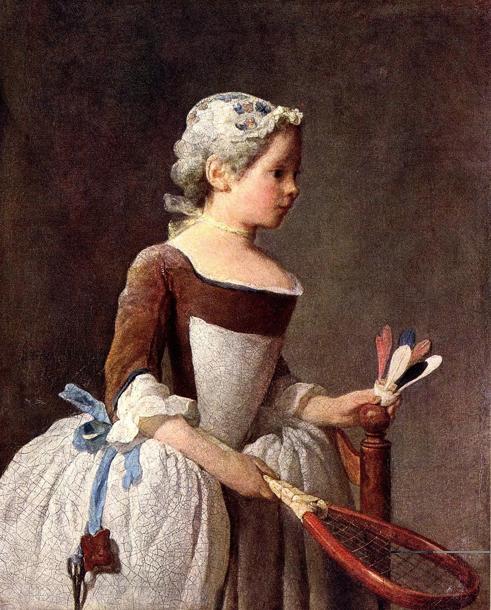 la fillette au volant, tableau de Chardin, conservée à la galeries des Offices, Diderot critique d'art de Florence. Peinture représentant les valeurs morales de la société bourgeoise de l'époque de Louis XV