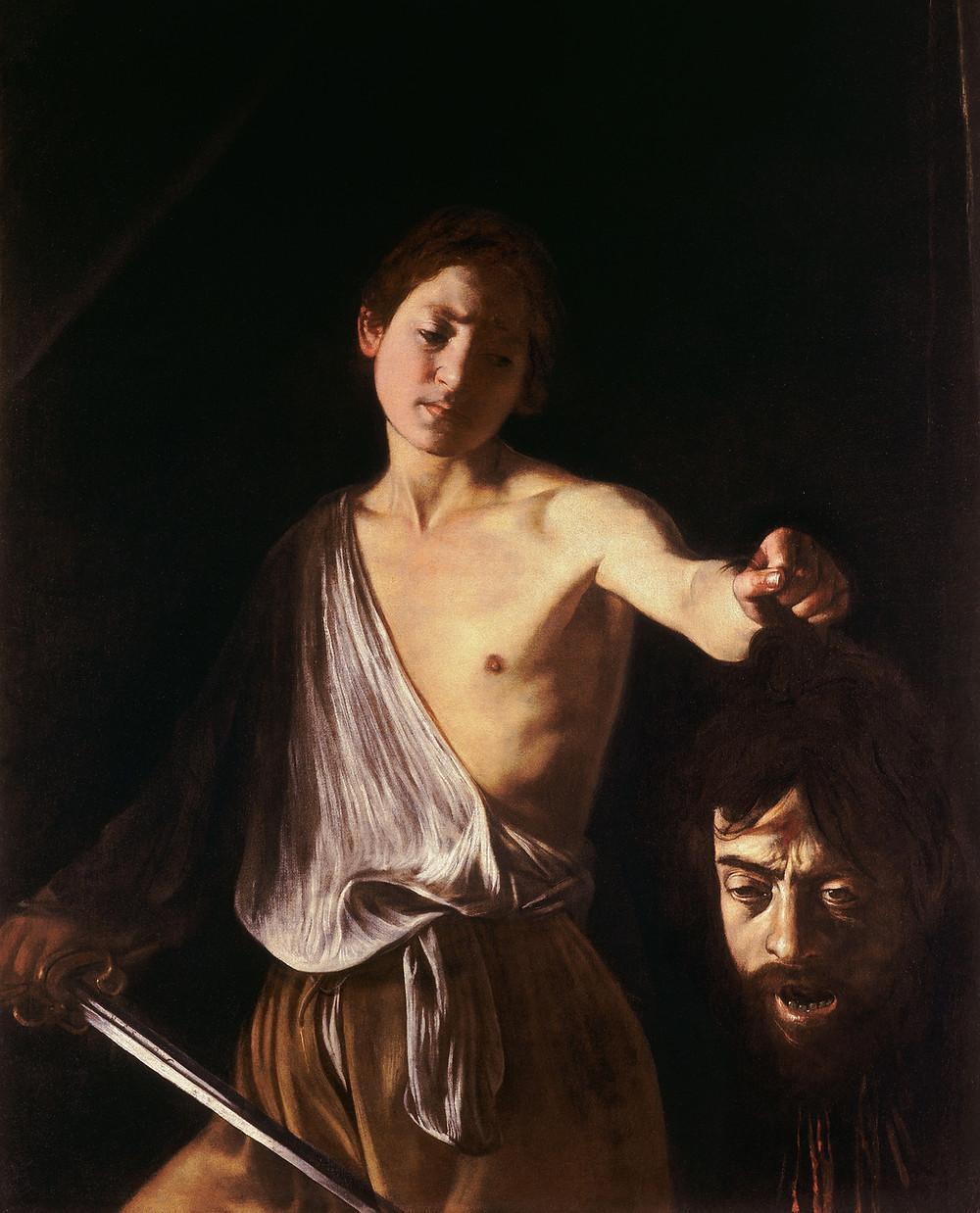 Le Caravage, Rome, analyse, David tenant la tête de Goliath, clair obscur, peinture italienne