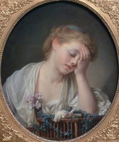 Greuze, Edimbourg, jeune fille pleurant son oiseau mort, peinture française