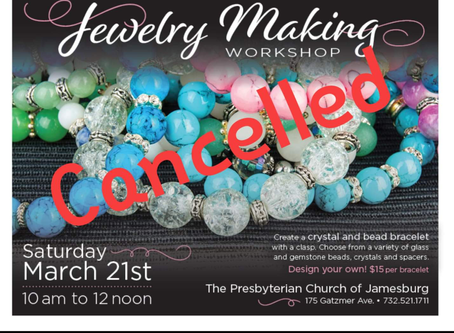 Jewelry Making Workshop Cancelled