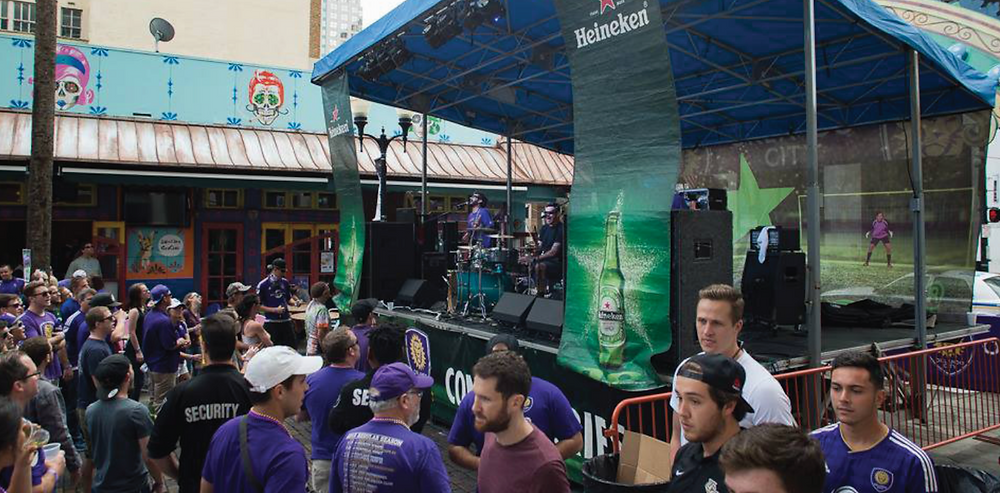 The aXisPro MAP24 Mobile Stage proved it can fit anywhere, for the OCSC Kickoff Pub Crawl with The Supervillains at Wall Street Plaza.