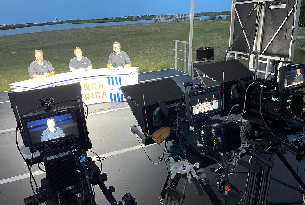The aXisPro team with Lighting Designer Tim Schuler far right, sitting in for the NASA TV Broadcast crew during the Lighting Check.
