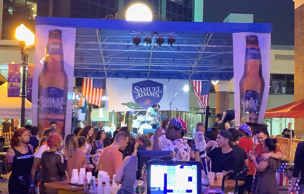 The aXisPro MAP24 Stage looks great in Sam Adams red, white and brew at Wall Street Plaza in Downtown Orlando!