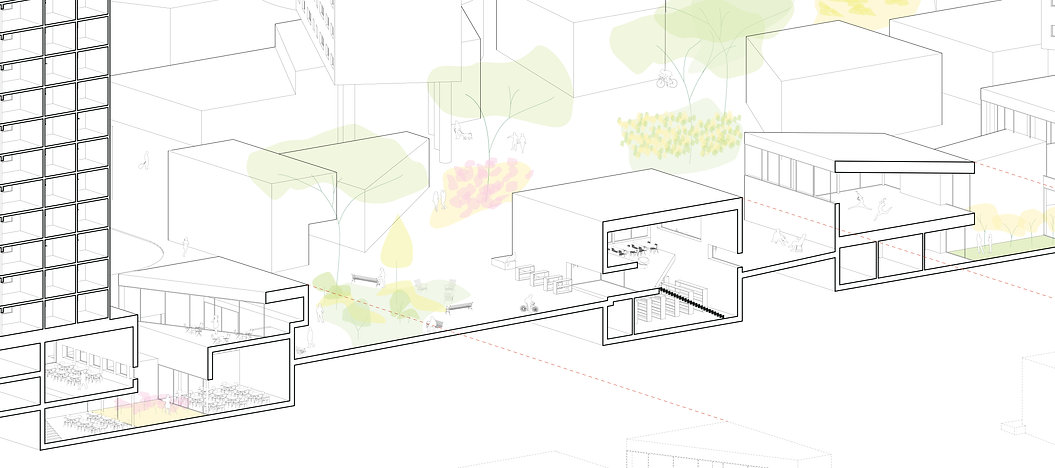 manhattanville section - drawing Barbara Becker - Parsons thesis