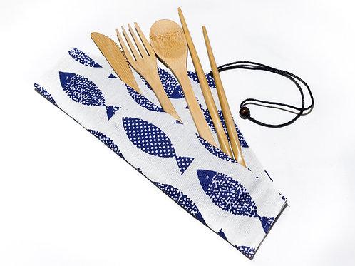5 Piece Eco Friendly Bamboo Cutlery Set
