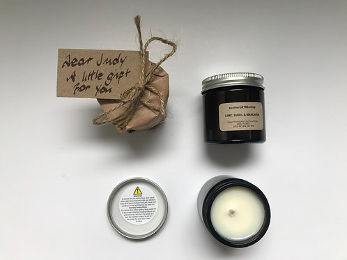 Gift Wrapped Lime, Basil & Mandarin Natural Soy Wax Candle