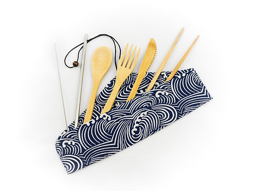7 Piece Eco Friendly Bamboo Cutlery Set