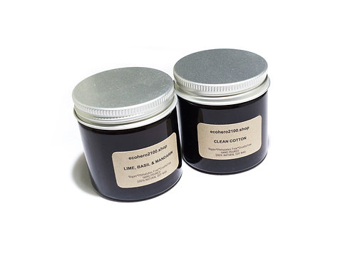 Pack of 2-Lime, Basil & Mandarin  and Clean Cotton Natural Soy Candles