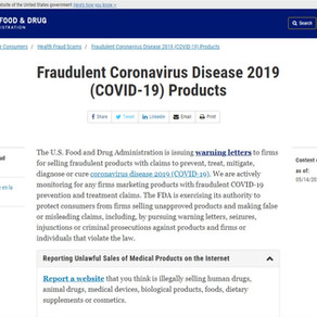 Fraudulent Coronavirus Disease 2019 (COVID-19) Products