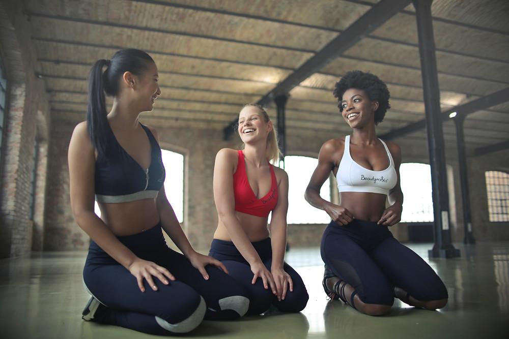 Girls laughing during yoga