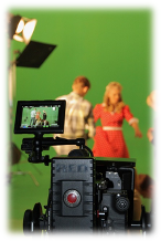 Film recording in front of green screen